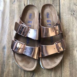 Birkenstock rose gold sandals 37
